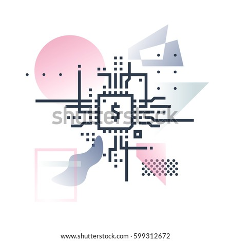 Abstract illustration concept of new financial technology and global fintech industry. Premium quality unique graphic design with modern line icon symbol and colored geometric shapes on background.