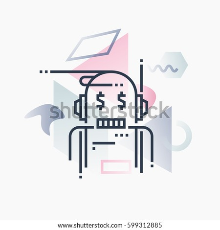 Abstract illustration concept of robo advisor, financial service artificial intelligence. Premium quality unique graphic design with modern line icon symbol and colored geometric shapes on background.