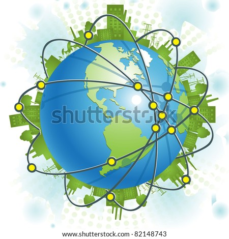 abstract illustration, green civilization on blue planet