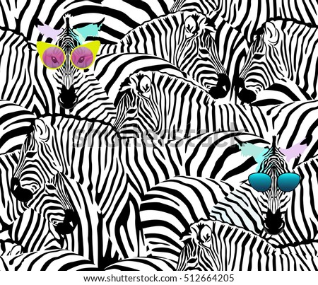 Abstract illustration herd of zebras, animal seamless pattern, fashion striped print, color black  white, spring summer, design  fabric texture, tropical  vector, two funny Zebra in sunglasses