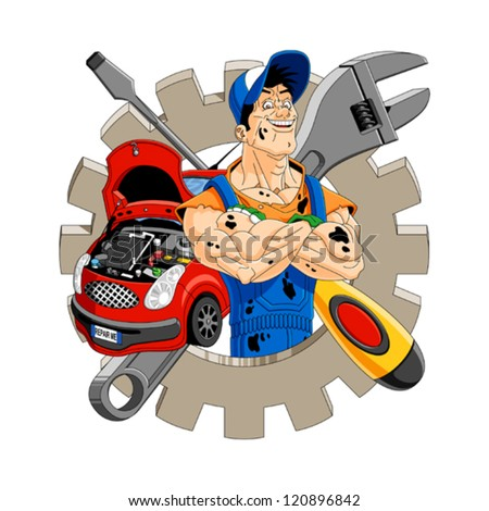 Abstract illustration of a cheerful mechanic with gear, car, screwdriver and wrench on the background.