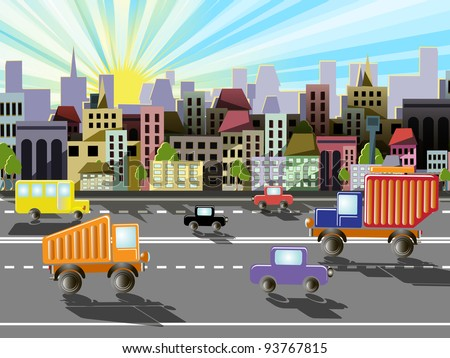 abstract illustration of a city on the background