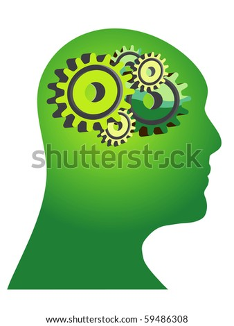 Abstract illustration of a green human head with gears
