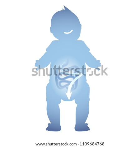 Abstract illustration of a healthy baby intestine. Normal digestion of a child.