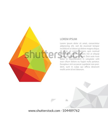 Abstract illustration of a paper drop, vector layout design template.