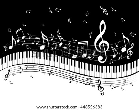 Abstract illustration of a piano keys with musical notes background.