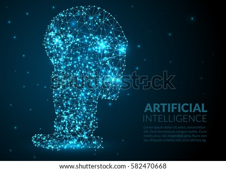Abstract Illustration of a robot head created of lines dots and lights on a dark background -  artificial intelligence illustration - abstract space and stars - futuristic polygonal wireframe design