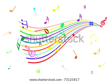 Abstract illustration of a stave with music notes - stock vector
