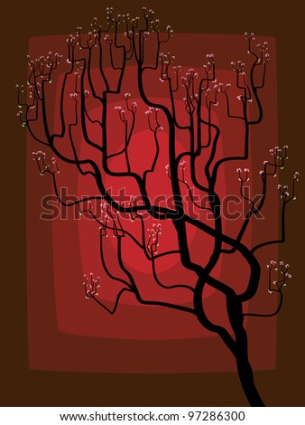 Abstract illustration of blossoming tree with small flowers and leaves on darkly red background.