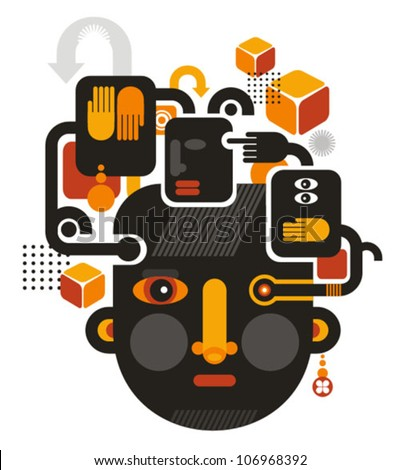 Abstract illustration of faces with design elements. See no evil.