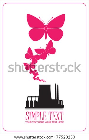 Abstract illustration of factory with butterflies. Vector. Place for your text.