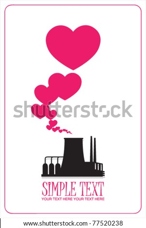 Abstract illustration of factory with hearts. Vector. Place for your text.
