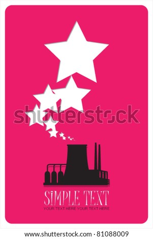 Abstract illustration of factory with stars. Vector. Place for your text