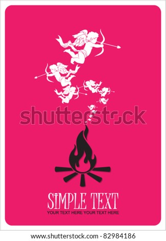 Abstract illustration of fire and cupids instead of a smoke. Place for your text.