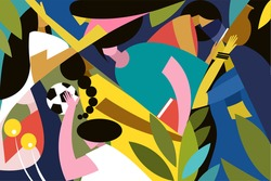 Abstract illustration of Indian women representing different walks of like.Concept for women's day