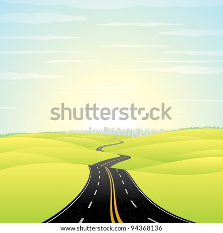 Abstract Illustration of Landscape with Highway. Picture of Road Going Toward the Skyscrapers in a Modern City at Sunrise. Vector Image.
