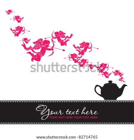 Abstract illustration of teapot with cupids. Place for your text.
