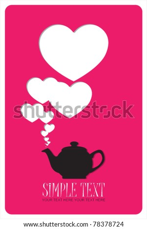 Abstract illustration of teapot with hearts. Place for your text.
