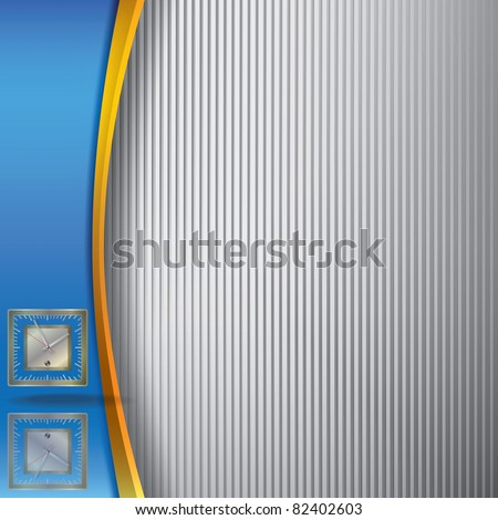abstract illustration with clock on blue and striped background