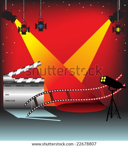 Abstract illustration with colorful stage lights, film strip and clapper board. Movie concept