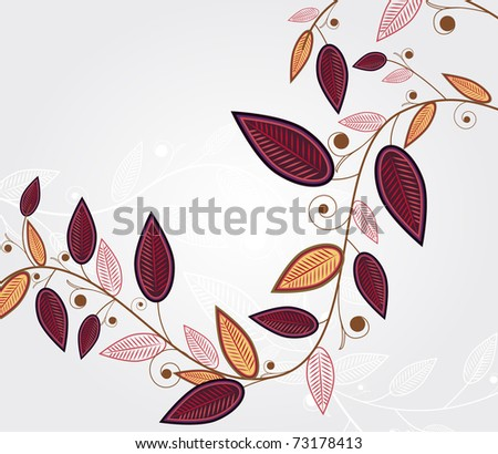 Abstract illustration with elegance branch with leafs