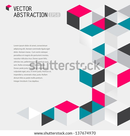 abstract illustration with flying cubes, vector background