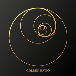 Abstract illustration with golden ratio on black background. Art&gold. Spiral pattern. Line drawing. Vector illustration.