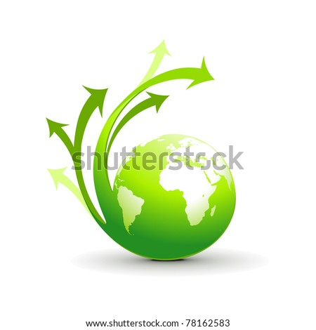 Abstract illustration with swirl arrow globe