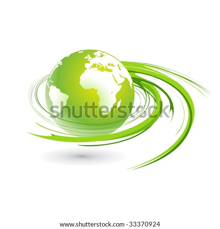 Abstract illustration with swirl globe