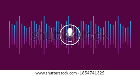 Abstract illustration with voice recording microphone wave for concept design. Future technology concept. Stock image.