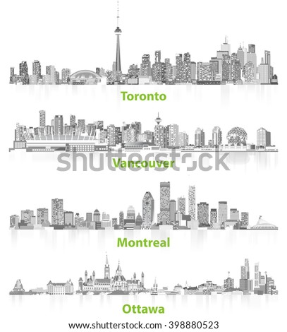 abstract illustrations of canadian urban city skylines in grey scales on white background