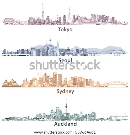 abstract illustrations of tokyo