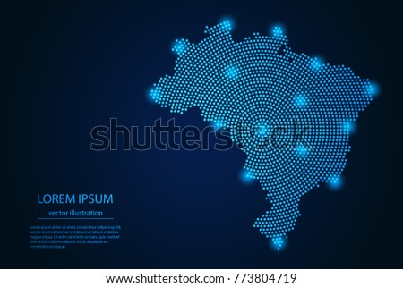 Abstract image Brazil map from point blue and glowing stars on a dark background. vector illustration.