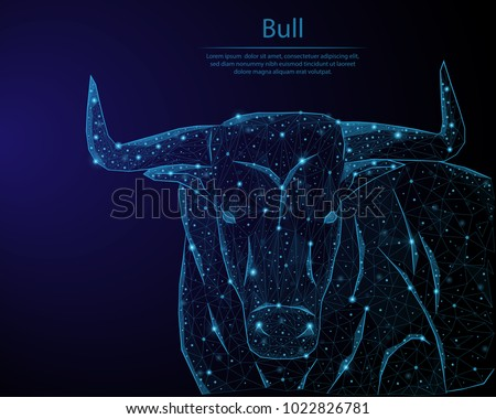 Abstract image bull in the form of constellations and starry sky, consisting of points and lines.