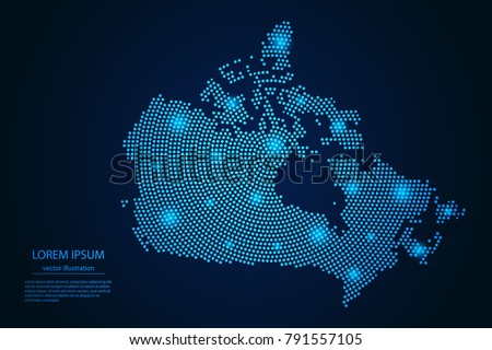 Abstract image Canada map from point blue and glowing stars on a dark background. vector illustration.