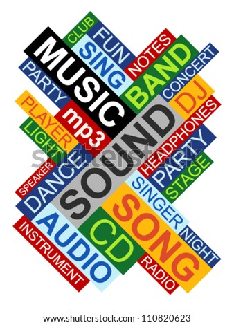 Abstract image made from words which relate with music - stock vector