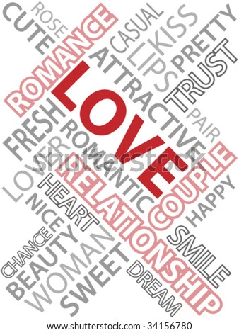 Abstract image made from words which relate with word love.