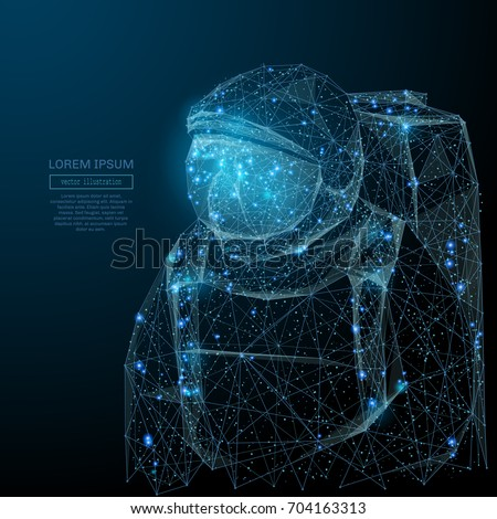 Abstract image of a astronavt in the form of a starry sky or space, consisting of points, lines, and shapes in the form of planets, stars and the universe. Vector space wireframe concept.