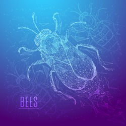 Abstract image of a bee in the form of a starry sky or space, consisting of points, lines, and shapes in the form of planets, stars and the universe. Vector insect nature concept.