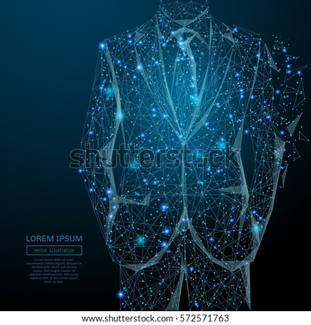 Abstract image of a businessman in suit in the form of a starry sky or space, consisting of points, lines, and shapes in the form of planets, stars and the universe. Vector business wireframe concept.