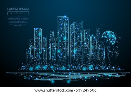 Abstract image of a cityscape in the form of a starry sky or space, consisting of points, lines, and shapes in the form of planets, stars and the universe. Big city vector wireframe concept