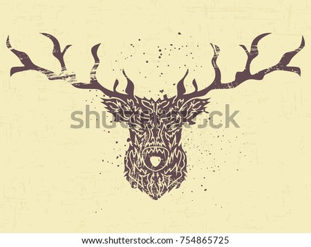 abstract image of a deer theme for the new year brush strokes it