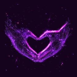 Abstract image of a Love shape hands in the form of a starry sky or space, consisting of points, lines, and shapes in the form of planets, stars and the universe. Vector Hand making sign Heart