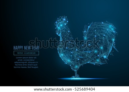 Abstract image of a new year rooster in the form of a starry sky or space, consisting of points, lines, and shapes in the form of planets, stars and the universe. Christmassy vector wireframe concept.