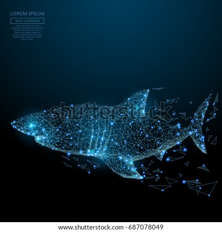 Abstract image of a shark in the form of a starry sky or space, consisting of points, lines, and shapes in the form of planets, stars and the universe. Vector animal concept