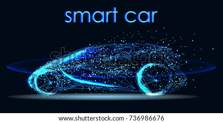 Abstract image of a smart or intelligent car in the form of a starry sky or space, consisting of points, lines, in the form of planets,stars and the universe. Futuristic automotive technology.