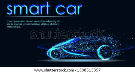 Abstract image of a smart or intelligentcar in the form of a starry sky or space, consisting of points, lines, and shapes in the form of planets, stars and the universe. Futuristic automotive