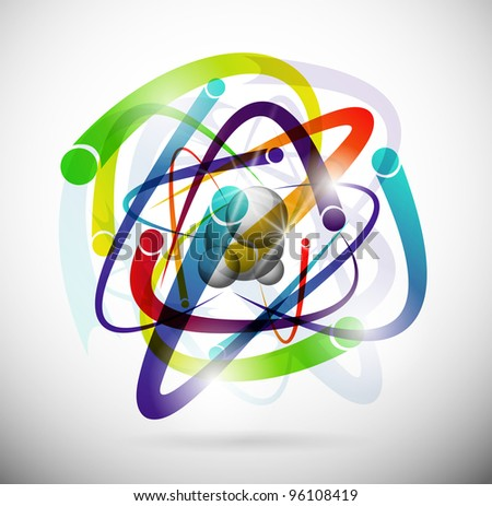 Abstract image of an atom with electrons. Eps 10