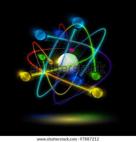 Abstract image of an atom with electrons on a black background. Eps 10