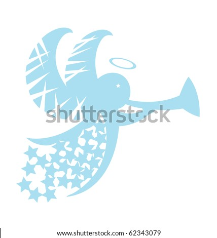 Abstract image of angel decorated with star and Christmas ornament. - stock vector